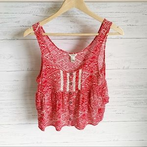 Forever 21 Red White Print Button Front Tank